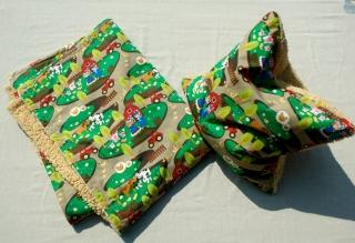 Kinderdecke BAUERNHOF mit Kissenhülle Baumwolle Teddy Reißverschluss kuschelig verspielt