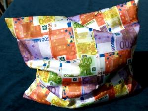Kissenbezug EURO Millionär Baumwoll-Satin 40x40 cm originell Geschenk