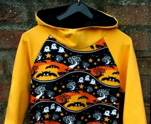 Hoodie GEISTERNACHT Gr.104 und 116 orange schwarz Baumwollsweat Fledermäuse Gespenster  - Handarbeit kaufen