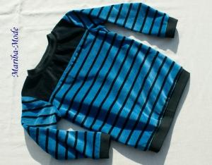 Kinderpullover Nicki STREIFEN Bio-Baumwolle Gr. 86/92 Junge blau schwarz kuschelig