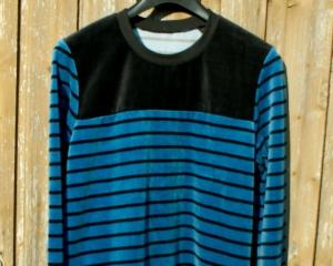 Männerpullover Nicki STREIFEN Bio-Baumwolle Gr. M blau schwarz kuschelig