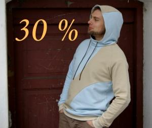 Hoodie GREG  Sweatshirt Kapuze Gr. L Baumwolle Sweat angeraut sand hellblau  - Handarbeit kaufen