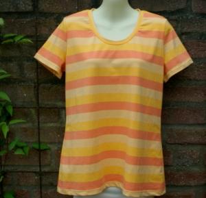 Shirt SONNENSCHEIN gelb orange Baumwolle Gr.40 Blockstreifen gelb orange lachs Sommer sonnig Unikat Partnerlook  - Handarbeit kaufen
