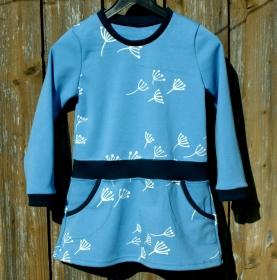 Kinderkleid PUSTEBLUME hellblau Gr.104 Mädchen Baumwolle Interlock Ökotex - Handarbeit kaufen