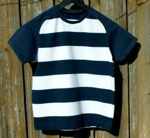 Kinder Shirt BLOCKSTREIFEN marine weiß Gr.104 Bio-Baumwolle GOTS Kurzarm maritim sportlich leger  - Handarbeit kaufen