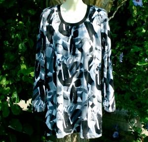Tunika Kleid SCHWARZ-WEISS  Gr. 40 Jersey - Handarbeit kaufen
