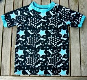 Shirt ROCK STAR schwarz Jungen Gr. 98/104 Baumwolle Jersey Kurzarm türkis Sterne  - Handarbeit kaufen