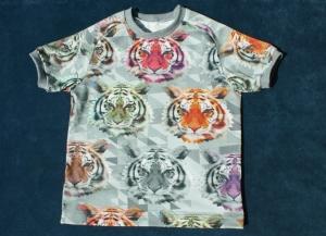 Kurzarmshirt BUNTE TIGER für Jungen Gr. 98/104 Baumwolle Jersey Digitaldruck grau bunt  - Handarbeit kaufen