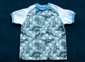 Kurzarmshirt DINOS für Jungen Gr. 98/104 Dinosaurier  - Handarbeit kaufen