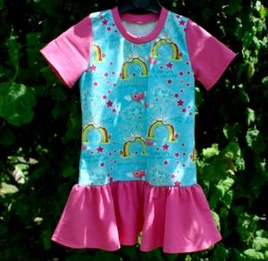 Mädchen-Kleid EINHORN REGENBOGEN pink Gr.116 Volant Baumwolle Jersey romantisch  - Handarbeit kaufen