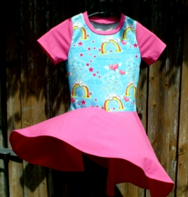 Mädchen-Kleid mit Tellerrock EINHORN REGENBOGEN pink Gr.116 Baumwolle Jersey romantisch