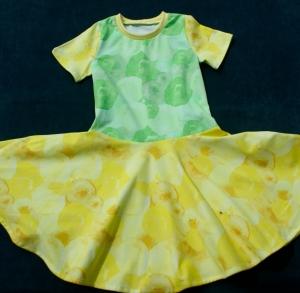 Mädchenkleid SEIFENBLASEN Drehkleid Tellerrock Gr.128 Baumwolljersey gelb grün