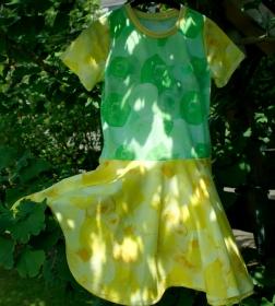 Mädchenkleid SEIFENBLASEN Drehkleid Tellerrock Gr.128 Baumwolljersey gelb grün  - Handarbeit kaufen