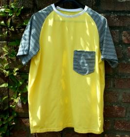 Männer Shirt SOMMER-GELB Baumwoll-Piqué Gr.S gelb Brusttasche - Handarbeit kaufen