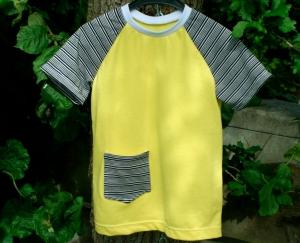 Kinder-Shirt SOMMER-GELB Baumwoll-Piqué Gr.110/116 gelb Tasche - Handarbeit kaufen