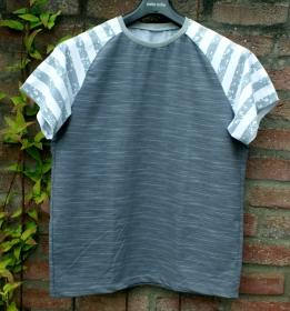 Männer Shirt GRAU-WEISS Baumwolljersey Gr.M/L  - Handarbeit kaufen