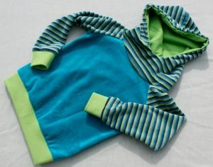 Baby Hoodie MULTI STRIPES Nicki petrol kiwi Gr.86/92  - Handarbeit kaufen