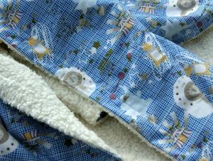 Kuscheldecke ZIRKUS B-Ware Baumwolle Teddy Babydecke  blau weiß - Handarbeit kaufen
