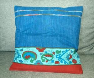 Kissenbezug BORDÜRE floral blau 40x40 cm Bassetti-Stoff  Baumwolle  - Handarbeit kaufen
