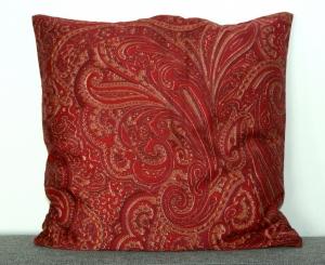 Kissenbezug NOSTALGIE rot beige 40x40 cm Bassetti-Stoff Reißverschluss Baumwolle Satin  - Handarbeit kaufen