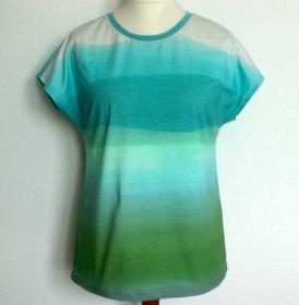Shirt GARTENLAUBE ärmellos Farbverlauf aqua - grün Gr.40  Baumwolljersey leger - Handarbeit kaufen