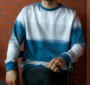 Männerpullover FARBVERLAUF 2  blau beige Gr. L Baumwolle French terry leger  - Handarbeit kaufen