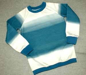 Kinderpullover FARBVERLAUF  blau beige Gr.104 Baumwolle French terry Junge  - Handarbeit kaufen