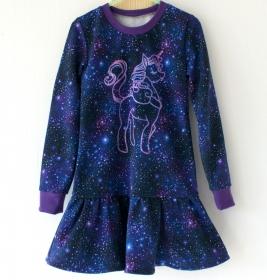 Mädchen-Kleid EINHORN im HIMMEL lila Gr.116 Volant Baumwollsweat romantisch