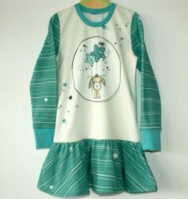 Mädchen-Kleid LUFTABOM  Gr.116 Volant Baumwolljersey verspielt - Handarbeit kaufen