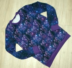 Mädchen-Pullover EINHORN im HIMMEL lila Gr.128 Baumwollsweat romantisch  - Handarbeit kaufen