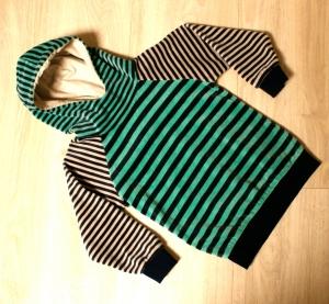 Kinder Hoodie Nicki STREIFEN blau grün beige Gr.98/104 - Handarbeit kaufen