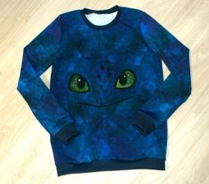 Jungen Pullover DRACHENAUGEN blau Gr.140 Baumwollsweat cool - Handarbeit kaufen