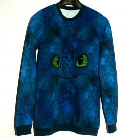 Jungen Pullover DRACHENAUGEN blau Gr.140 extra lang Baumwollsweat cool - Handarbeit kaufen