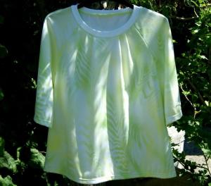 Blusenshirt FEDERN Jersey Gr.M grün gelb weiß Einzelstück