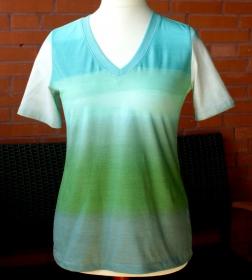 Shirt GARTENLAUBE Kurzarm Farbverlauf aqua - grün Gr.40 Baumwolljersey leger - Handarbeit kaufen