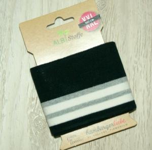 cuff me Fertigbündchen SCHWARZ WEISS GRAU Streifen Bio-Baumwolle GOTS-zertifiziert   - Handarbeit kaufen