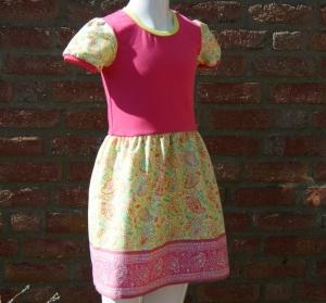 Mädchenkleid PAISLEY  Gr.128 Baumwolljersey pink Webstoff gelb