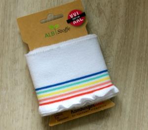 cuff me frill Fertigbündchen WEISS BUNT Streifen Bio-Baumwolle GOTS-zertifiziert   - Handarbeit kaufen