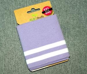 cuff me bold Fertigbündchen FLIEDER WEISS Streifen Bio-Baumwolle GOTS-zertifiziert  - Handarbeit kaufen
