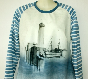 Pullover KÜSTE Sommersweat Gr. 38/40 Baumwolle French Terry maritim