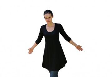Tunika-Mini-Kleid Deep-C mit 3/4 Ärmeln LG85 aus Viskosejersey