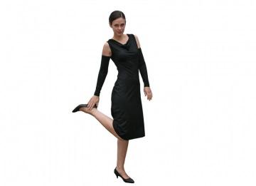 Wasserfall-Kleid gerade ärmellos LG105 aus Viskosejersey