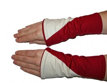 Mira Armstulpen zum Wenden (diagonal) rot mit cremeweiß oder rot mit hellgrau - Handarbeit kaufen