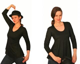 Deep-C Tunika-Shirt mit  3/4 Arm, Länge 65 cm  aus Viskosejersey - Handarbeit kaufen