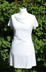 SALE Wasserfallkleid mit kurzen Ärmeln in weiß Größe 42 Länge ca, 85 cm cm aus Viskosejersey  SALE - Handarbeit kaufen