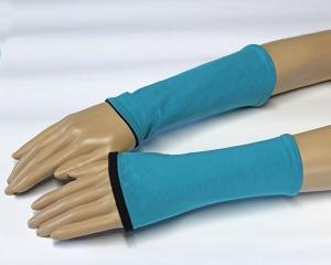Mira Wendestulpen, kurze Armstulpen aus BioBaumwolle in schwarz/türkis - Handarbeit kaufen
