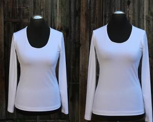 Shirt mit Office-C Ausschnitt und langen Ärmeln  - Handarbeit kaufen