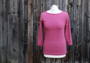 Shirt mit U Boot Ausschnitt und dreiviertel Arm aus BioBaumwolle - Handarbeit kaufen