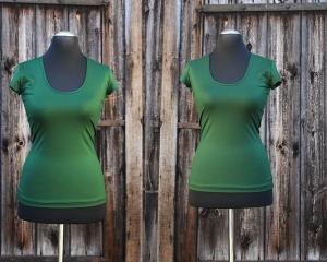 Deep-C-Basic-Shirt mit kleinen Ärmeln aus Viskosejersey  - Handarbeit kaufen