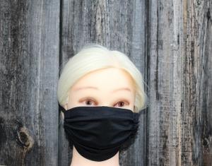 Alltagsmaske, Mund- und Nasenmaske, uni, schwarz, grün, creme, lila oder rot, individuell anpassbar, waschbar, mehrfach verwendbar